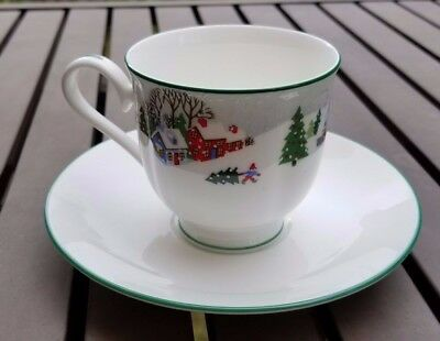 Lenox Sleighride Footed Cup & Saucer Set Christmas China - Discontinued