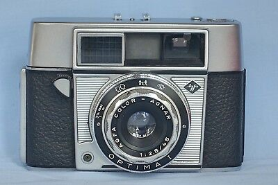 VINTAGE  AGFA OPTIMA Ia 35 MM CAMERA WITH A  1:2.8/45 MM LENS  & LEATHER CASE.