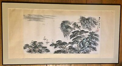 Beautiful Large Vintage Japanese Watercolor On Silk Paper Signed And Framed