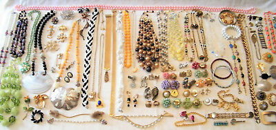 Vtg/Antq LOT 100pcs JEWELRY Designer/Gold Filled/Pearls/Wed Cake Beads/C-clasp