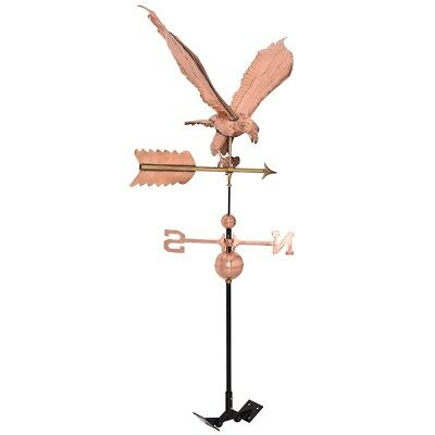 Full Size Roof Mounted Eagle Weathervane Copper Finish Wind Weather Direction US