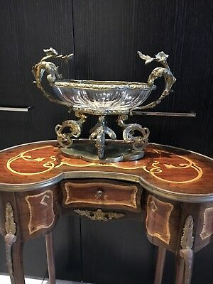 antique French clear crystal compote