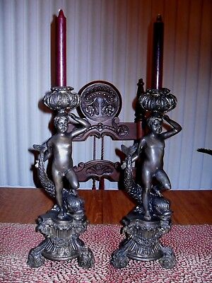 Antique Large Fine Pair Bronze Figural Candlesticks Cherubs Dolphins Ornate