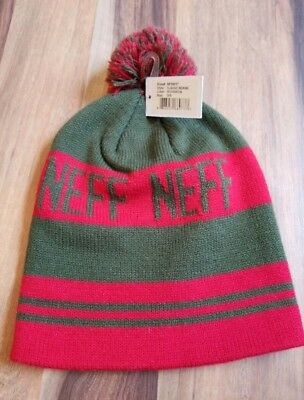 NEFF Men s Classic Pom Beanie • Green   Red Stripe • NWT • Adult One Size 5725937c3d3