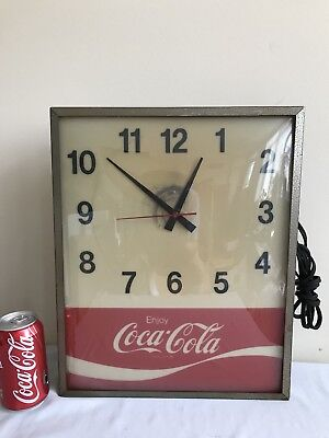 Vintage Coca Cola Synchron Electric Lighted Wall Clock - For Repairs