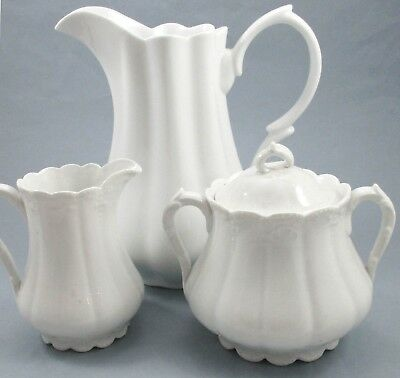 3 Pcs Godinger Classic White Water Pitcher Vintage Covered Sugar Bowl Creamer