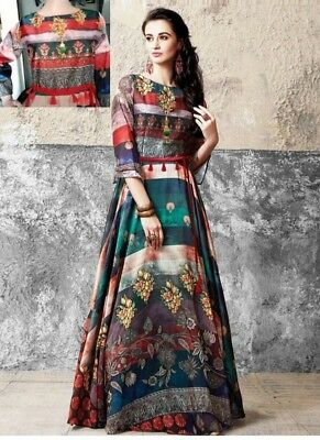Indian Bollywood Designer indo western gown Kurta Kurti women ethnic dress -sr06