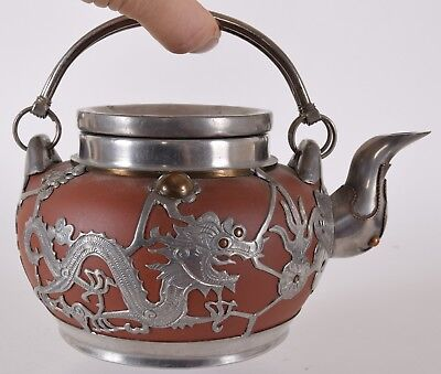 Chinese Red Yixing Pewter Teapot Coin Lid Dragon Chasing Flaming Pearl Seal Mark