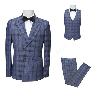 Mens Classic Blue Double Breasted Stripe Blazer Tuxedos Dinner Prom Wedding Suit