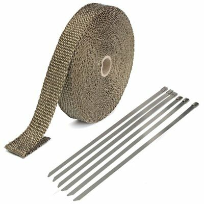 25mmx15m Exhaust Heat Wrap Insulation Pipe Tape Titanium Glass Fiber With 6