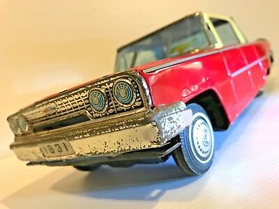 "Vintage ""K"" Tinplate 1963 Ford Galaxie Hardtop Tin Litho Toy Made In Japan 1960s"