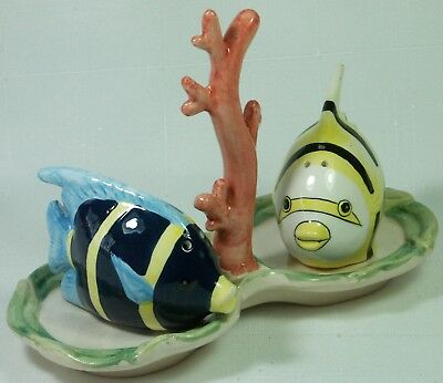 Ceramic Hand Painted Salt & Pepper Shakers Tropical Fish on Tray **LAST ONE**