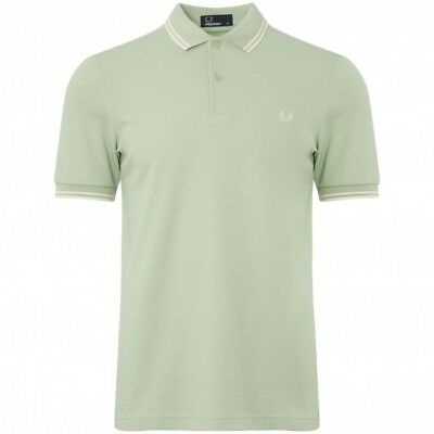 dc35b5baf BNWT Fred Perry M3600 Polo Shirt Mint Ecru M RRP £65 Tipped Collar F82 Green