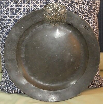 Antique Georgian English Pewter Charger Heraldic Shield 2 Axes & Torch Flame ED
