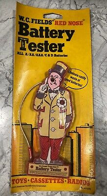 Vintage W. C. Fields Red Nose Battery Tester MOC 1974 Made In The U.S.A.