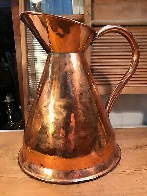 Large Antique Vintage English Copper Pitcher Jug Country Kitchen Display 38cm