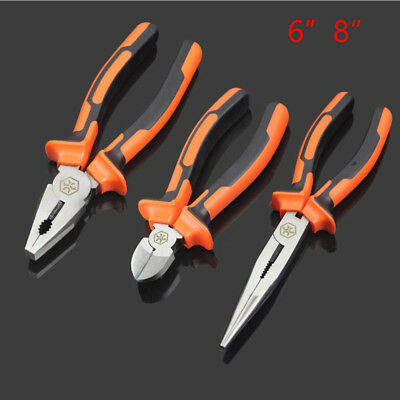 Long Nose Diagonal Pliers Set Needle Pinch Snipe Side/Wire Cutters Hand Tools