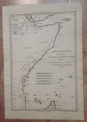 East Africa  1780 By Rigobert Bonne Antique Engraved Map 18Th Century