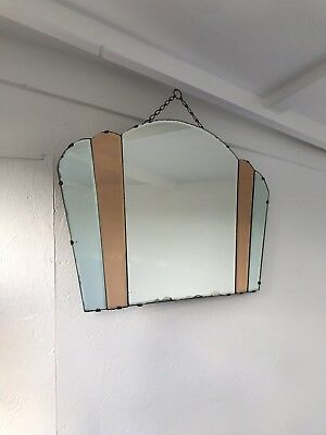 Art Deco Mirror Peach Mirror With Chain Tinted Panel Mirror Lovely Panel Mirror