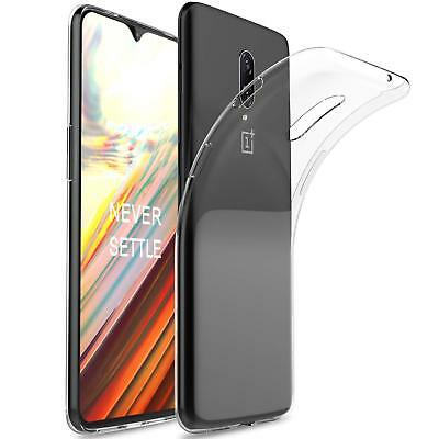 For OnePlus 6T Clear Slim Gel Case and Tempered Glass Screen Protector Guard