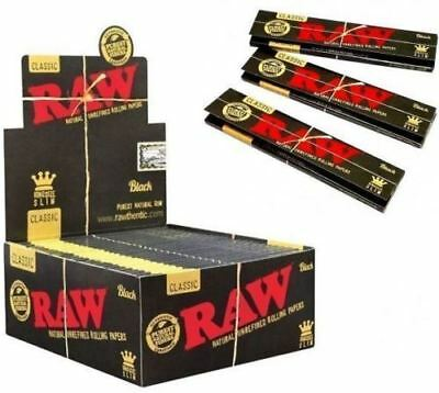 BLACK RAW Classic King Size SLIM Natural Rolling Smoking Paper Skins Rizla NEW
