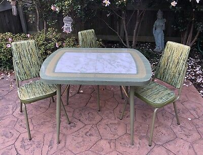 Mid Century Retro Dixie Dinettes Formica Table 3 Fancy Vinyl Chairs Marble Look