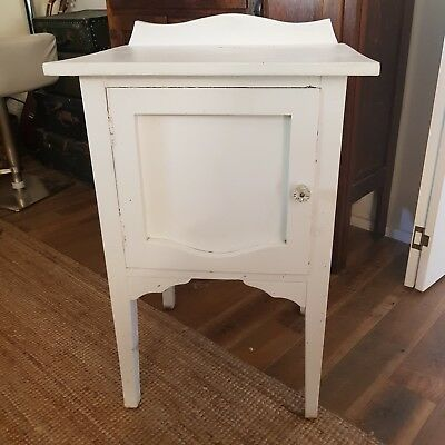 Small White Vintage French Style Pot / Meat Cupboard With Single Door