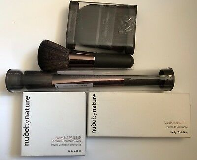 Nude By Nature Powder Foundation W2 Ivory, Contour Palette and Brushes