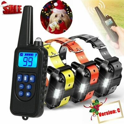 Shock E-Collar Rechargeable Dog Pet Training Waterproof 880 Yard Remote 3 Dogs