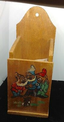 Vintage  Disney WDP Snow White & the Seven Dwarfs Hand Painted Wood wall hanging