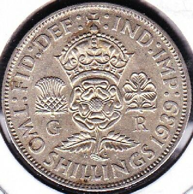 1939 Great Britain Two Shillings (Florin) Silver Coin Ef