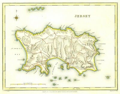 Genuine Antique map of Jersey c1840. S Lewis. Expertly hand coloured