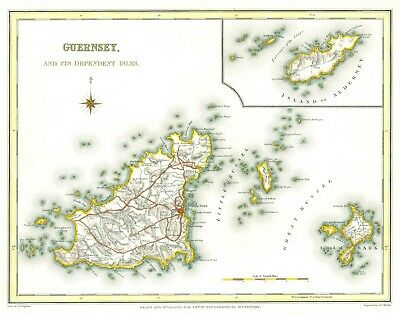 Genuine Antique map of Guernsey 1831. S Lewis. Expertly hand coloured