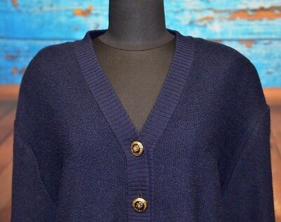 St John Sz M Navy Knit Cardigan Sweater Metal Logo Button Up Star Embroidered