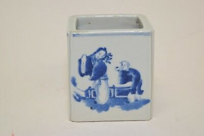 Republic Chinese Blue and White Figure and Poem Brush Pot