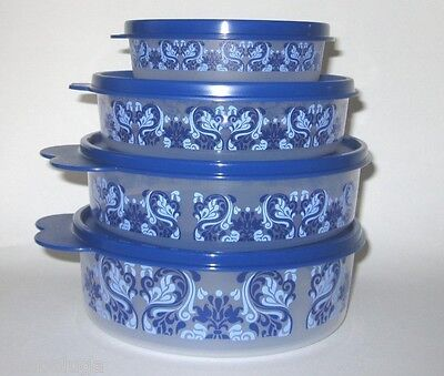 TUPPERWARE Wonders Bowl Tower Talavera Country Wave Snack Cereal Treat Container