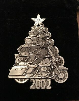 Harley-Davidson HOG Owners Group 2002 Pewter Christmas ORNAMENT Motorcycle Tree!