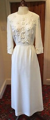 VINTAGE 1960's WHITE WEDDING DRESS WITH TRAIN