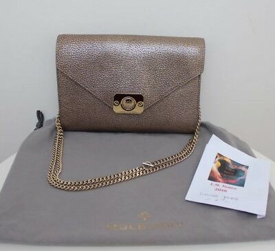 a6c1ee9d9720 Genuine Mulberry Delphie Envelope Clutch Chain Bag Metallic Mushroom Leather