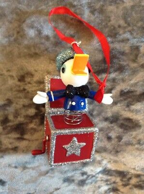 Disney store sketchbook 2017 Donald Duck Jack In A Box christmas tree ornament