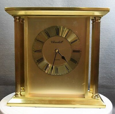 A Large Vintage Churchill Brass And Glass Mantel Clock