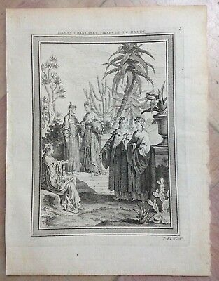 Women Of China 1750 Nicholas Bellin Nice Antique Engraved View 18Th Century