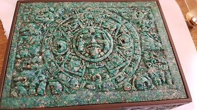 Aztec Mayan Box Crushed Turquoise And Brass Velvet Lined