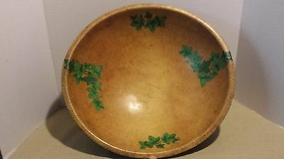 Antique Large Carved 19Th Century Treenware Wood Bowl Dough Tole Paint