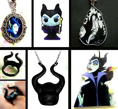 Maleficent Earrings Necklace Ring Disney Villains Sleeping Beauty Size P 1/2