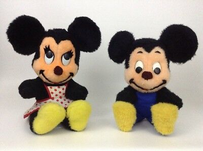"Mickey Mouse Minnie Mouse Vintage Disney 60s Toy 15"" Plush Stuffed Characters"