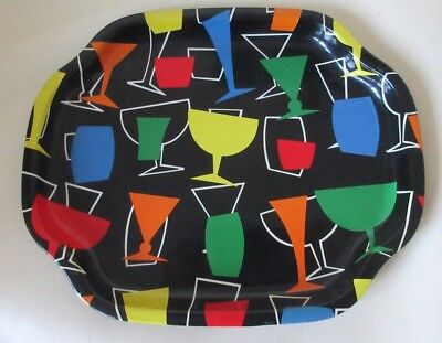 Vintage Worcester Ware 1960s Pop Art Small Metal Cocktail /Drinks Serving Tray