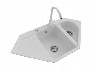 Granite composite kitchen sink corner, 1.5 bowl with drainer and waste KIT