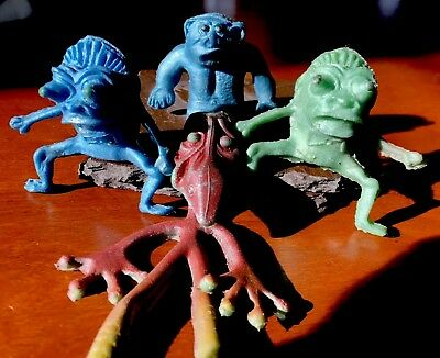 4 Soft Rubber/ Plastic Space Monsters From The 1960's
