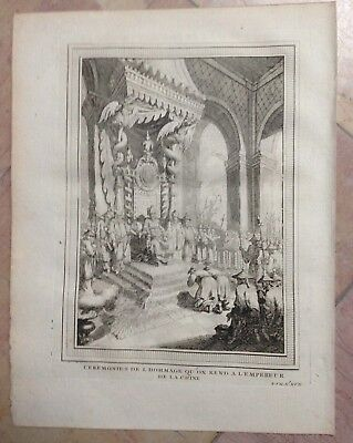 China Ceremony Of The Emperor 1750 Nicholas Bellin Antique Engraved View